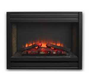 "Built-in 34"" Gallery LED electric fireplace with louvered front"