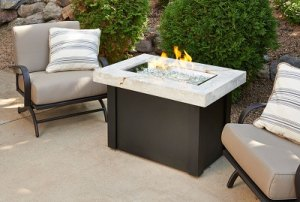 Providence White Onyx Top Fire Table