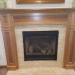 Traditional Style Fireplace Brick and Wood